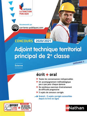 Adjoint technique territorial principal de 2e classe : concours 2020-2021, catégorie C, externe : écrit + oral