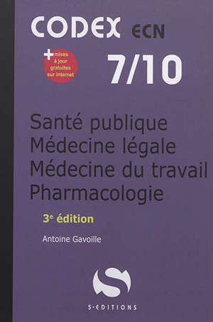 Santé publique, médecine légale, médecine du travail, pharmacologie : ECN 2020