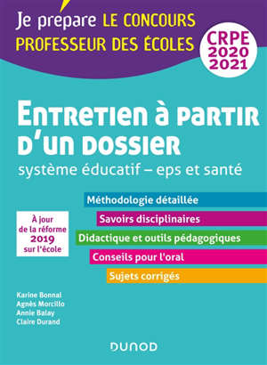 Entretien à partir d'un dossier : système éducatif, EPS et santé, oral-admission : professeur des écoles, CRPE 2020-2021