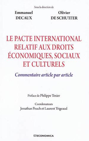 Le Pacte international relatif aux droits économiques, sociaux et culturels : commentaire article par article