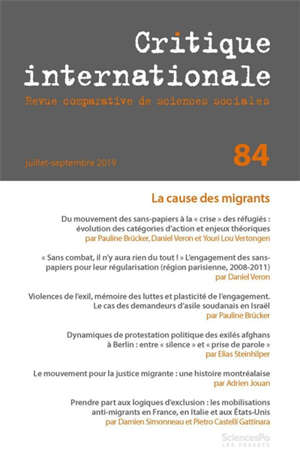 Critique internationale. n° 84, La cause des migrants
