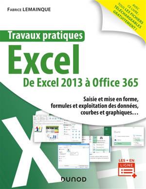 Travaux pratiques Excel : de Excel 2013 à Office 365 : saisie et mise en forme, formules et exploitation des données, courbes et graphiques...