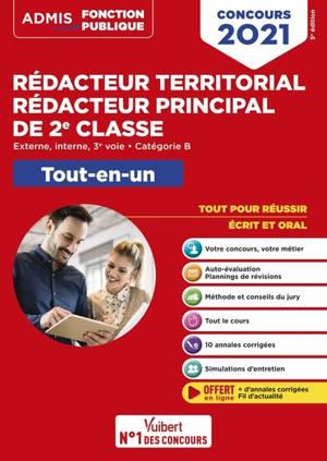 Rédacteur territorial, rédacteur principal de 2e classe : externe, interne, 3e voie, catégorie B : tout-en-un, concours 2021