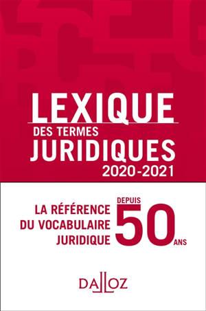 Lexique des termes juridiques 2020-2021