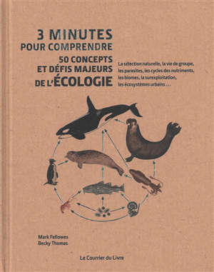 3 minutes pour comprendre 50 concepts et défis majeurs de l'écologie : la sélection naturelle, la vie de groupe, les parasites, les cycles des nutriments, les biomes, la surexploitation, les écosystèmes urbains...