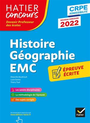 Histoire géographie EMC, enseignement moral et civique : épreuve écrite d'application : CRPE admissibilité, nouveau concours 2022