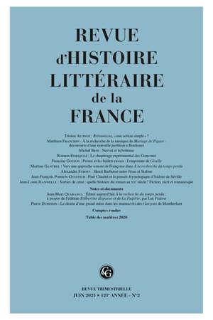 Revue d'histoire littéraire de la France. n° 2 (2021), Varia