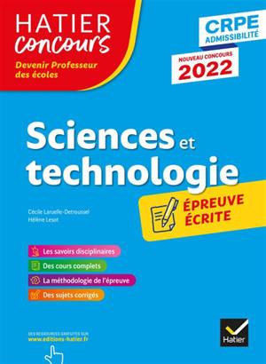 Sciences et technologie : épreuve écrite d'application : CRPE admissibilité,  nouveau concours 2022