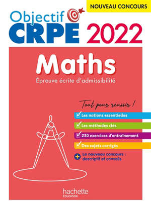 Maths : épreuve écrite d'admissibilité : nouveau concours 2022
