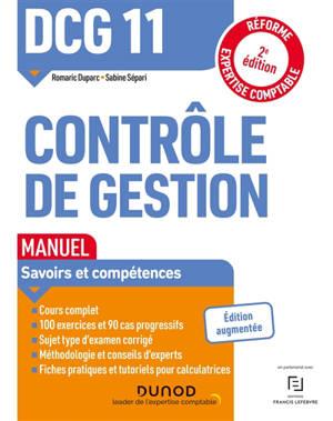 DCG 11, contrôle de gestion : manuel : savoirs et compétences