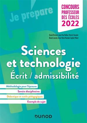 Sciences et technologie : écrit-admissibilité, Concours professeurs des écoles 2022