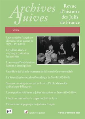 Archives juives. n° 54-2, Varia