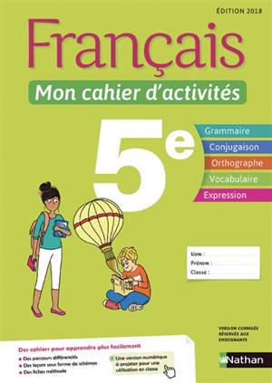 Français, mon cahier d'activités 5e