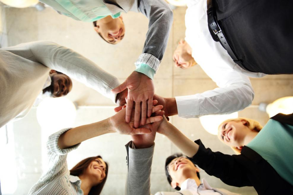 Team join hands