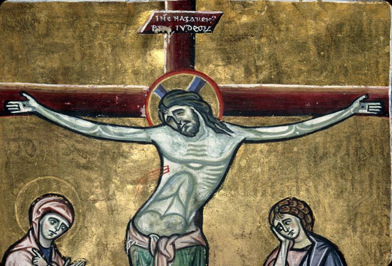 Sacramentaire à l'usage de Clermont - Christ en croix entre Marie et Jean_0