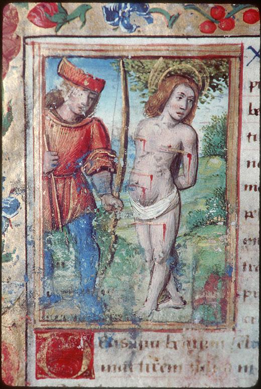 Heures à l'usage de Bourges - Martyre de saint Sébastien_0
