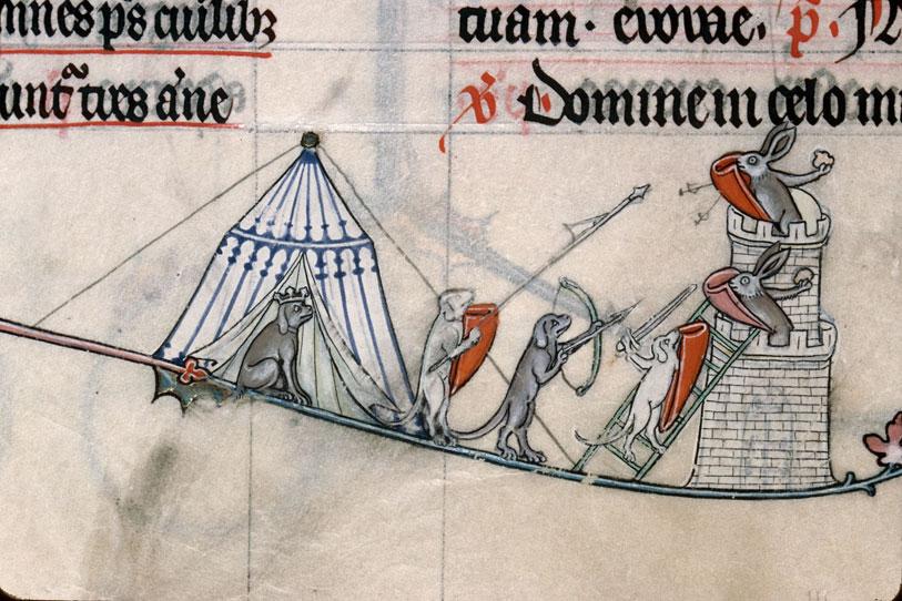Bréviaire à l'usage de Verdun - Chiens assiégeant une tour défendue par des lapins_0