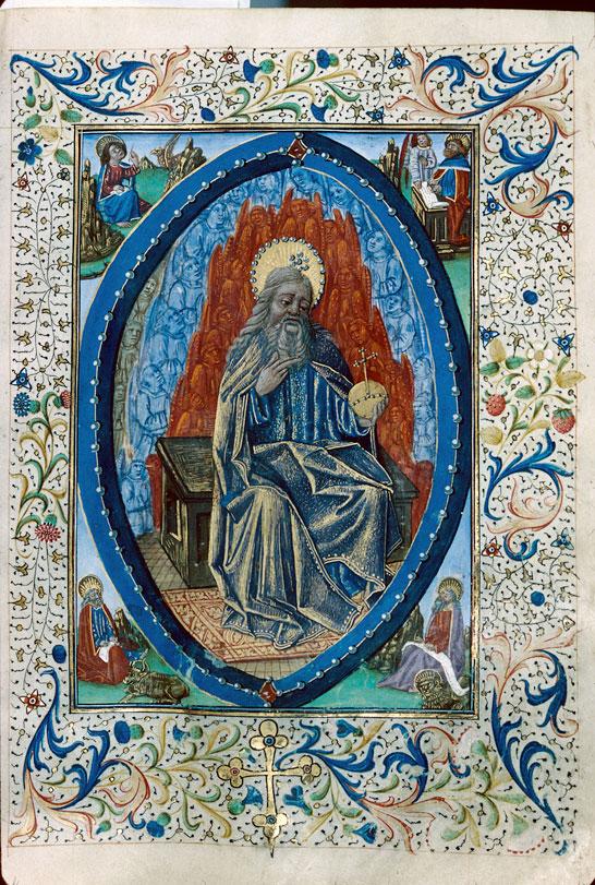 Missel à l'usage d'Autun - Dieu en majesté entouré du Tétramorphe et des évangélistes_0