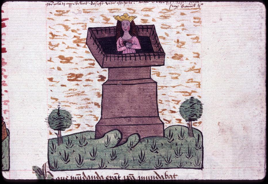 Speculum humanae salvationis - Reine de Perse dans les jardins suspendus de Babylone_0