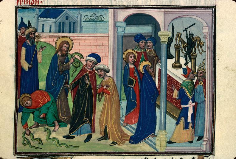 Légende dorée - Saint Simon et saint Jude jetant des serpents sur les magiciens_0
