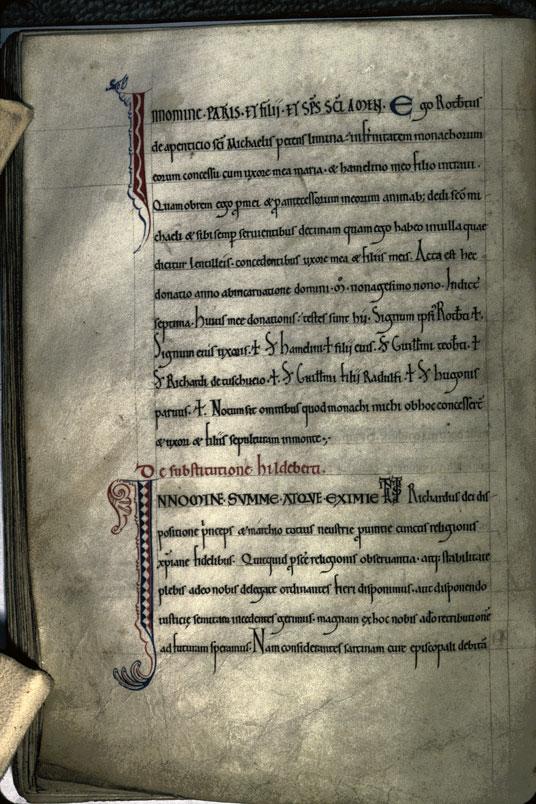 Cartulaire de l'abbaye du Mont-Saint-Michel - Initiales de couleur ornées_0