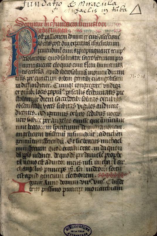 Historiae Montis S. Michaelis - Initiale filigranée_0