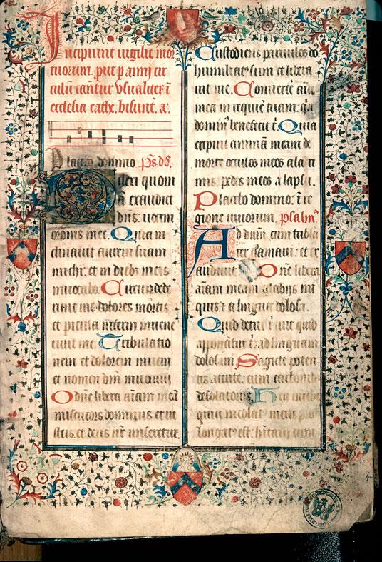 Office des morts (à préciser) - Page décorée, avec armes de Jean de Fruin_0