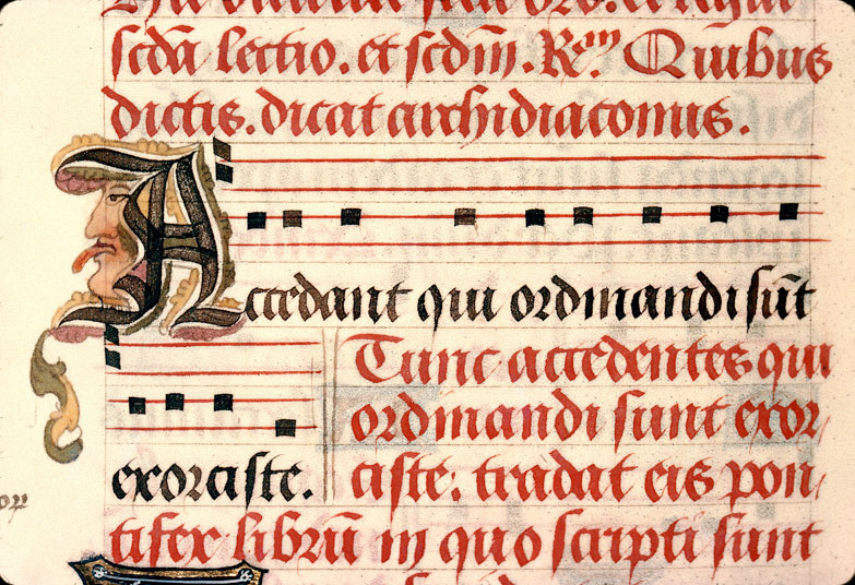 Pontifical à l'usage d'Amiens - Tête d'homme tirant la langue_0