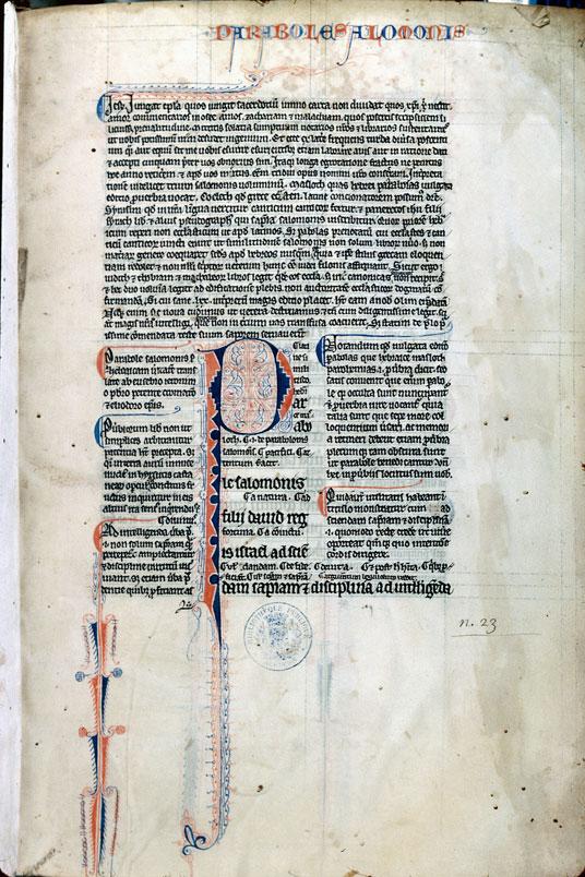 Bible glosée (partie de) - Initiale et pied-de-mouche filigranés_0
