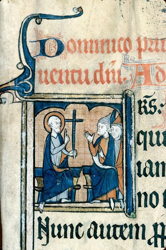 Lectionnaire de messe de l'abbaye Saint-Evroult d'Ouche - Saint Paul présentant la croix à des Juifs_0