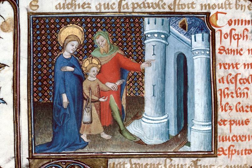 Roman de Dieu et de sa mere - Marie et Joseph emmenant Jésus à Jérusalem_0