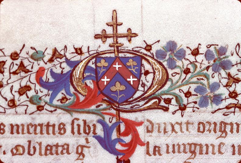 Legenda aurea - Page décorée, avec armes de Quentin Ménart_0