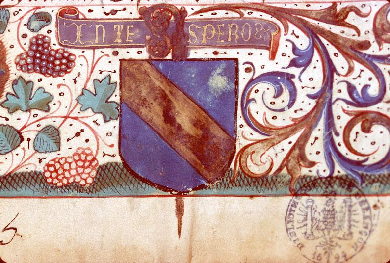 Légende des trois rois - Page décorée, avec armes de la famille de Longwy_0