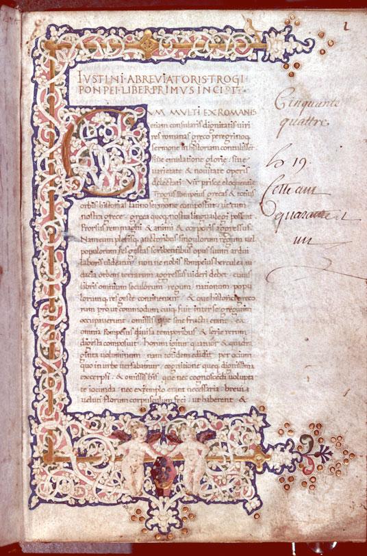 Epitoma historiarum Philippicarum Pompei Trogi - Page décorée, avec armes (à identifier)_0