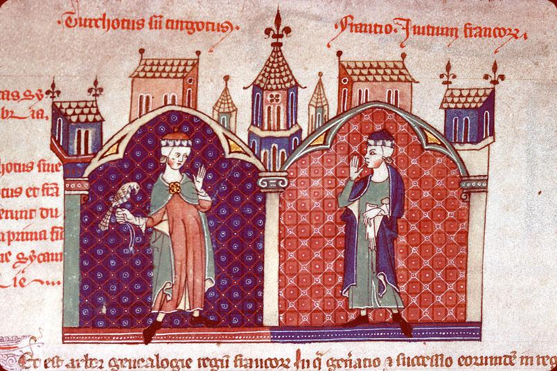 Arbor genealogiae regum Francorum - Torcoth et Francion dans Sicambrie_0
