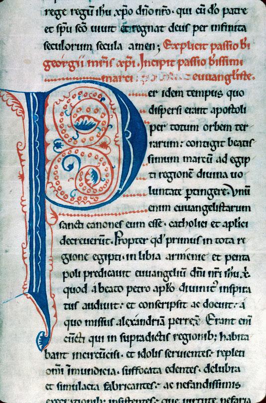 Légendier à l'usage de l'abbaye de Saint-Thierry près Reims - Initiale de couleur ornée_0