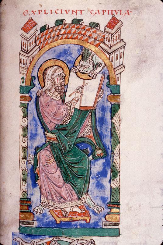 Evangiles de Matthieu et de Marc - Saint Marc écrivant et son symbole_0