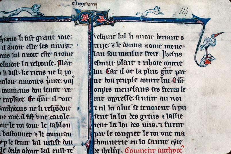 Chronique dite de Baudouin d'Avesnes - Lion poursuivant un chien/Homme luttant contre un hybride anthropomorphe/Chasse aux oiseaux_0