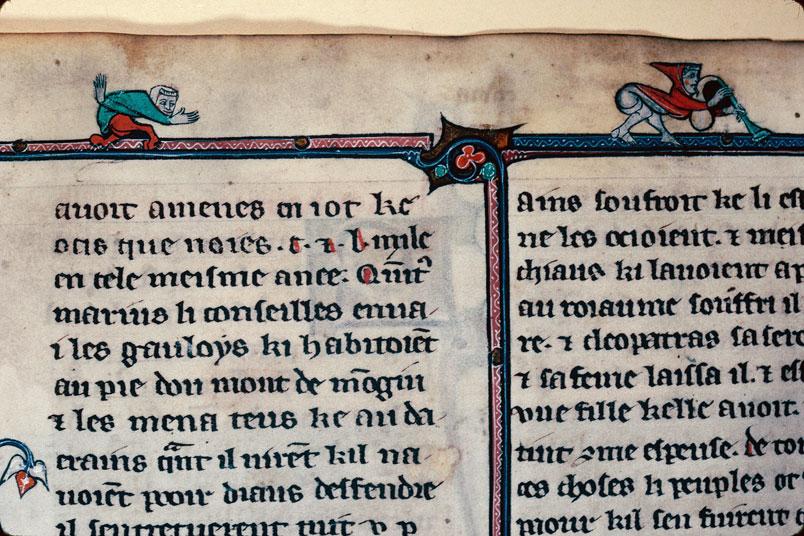 Chronique dite de Baudouin d'Avesnes - Hybride anthropomorphe et musicien/Musicien et centaure_0