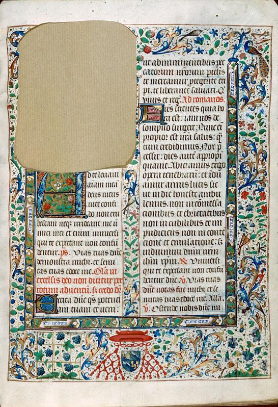 Missel à l'usage d'Autun - Page décorée, avec armes et devise de Jean II Rolin, évêque d'Autun_0