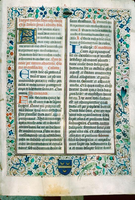 Missel à l'usage d'Autun - Page décorée, avec armes du chanoine Jacques de la Boutière_0
