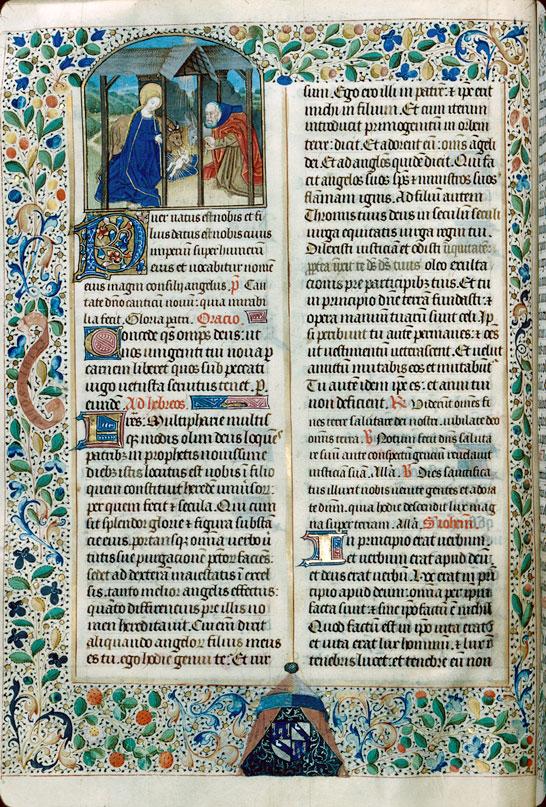 Missel à l'usage d'Autun - Page décorée, avec armes de Jean III Rolin_0