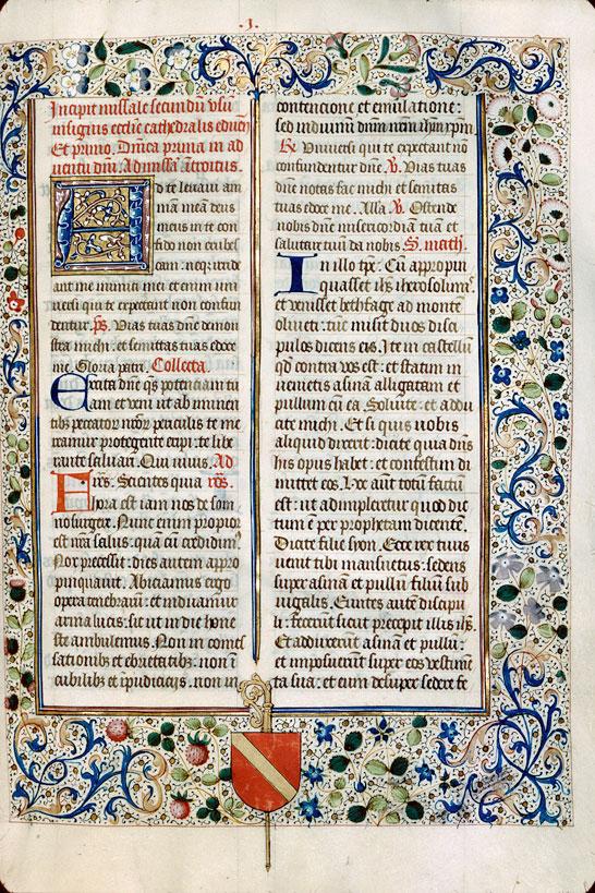 Missel à l'usage d'Autun - Page décorée, avec armes d'Antoine de Chalon_0