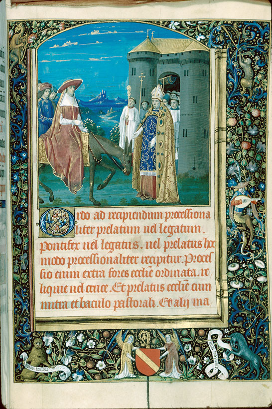 Pontifical romain - Page décorée, avec armes d'Antoine de Chalon_0