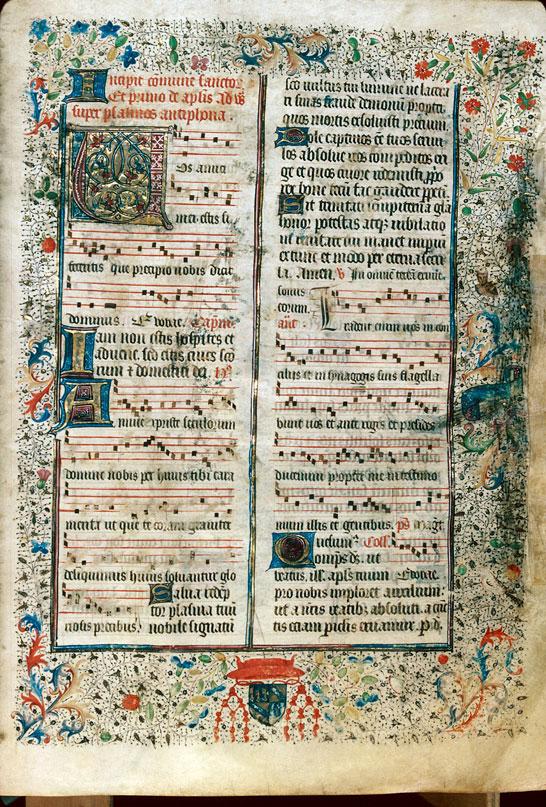 Bréviaire à l'usage d'Autun - Page décorée, avec armes et devise de Jean II Rolin, évêque d'Autun_0