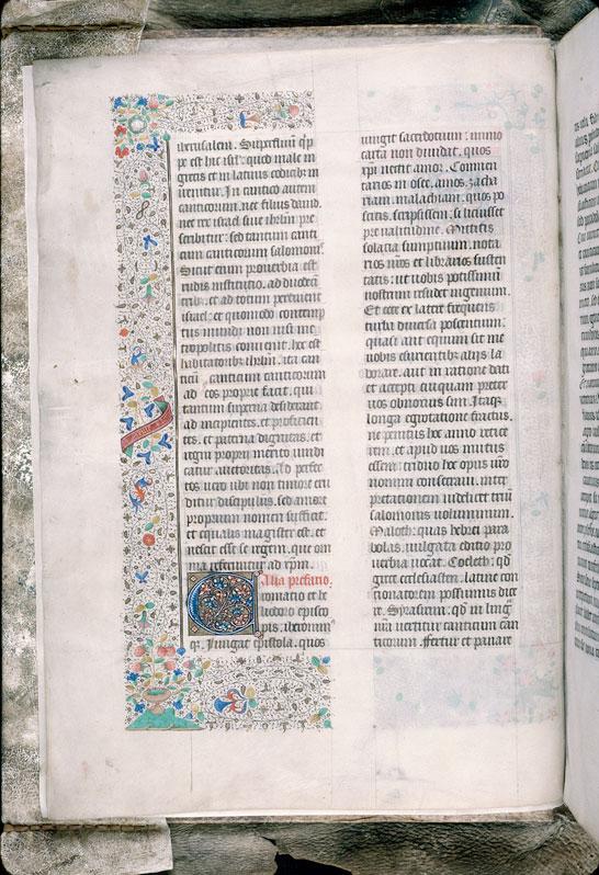 Bible (partie de) - Page décorée, avec devise de Nicolas Rolin_0