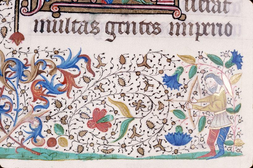 Bible (partie de) - Homme tirant à l'arc sur un hybride anthropomorphe_0
