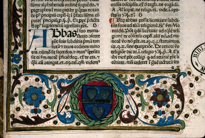 Supplementum Magistrutiae seu Pisanellae - Page décorée, avec armes (à identifier)_0