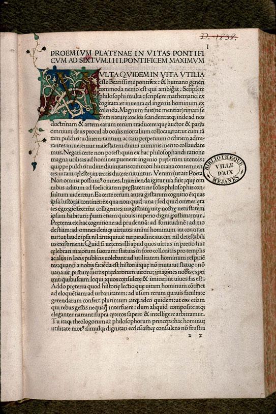Vitae pontificum - Initiale ornée_0