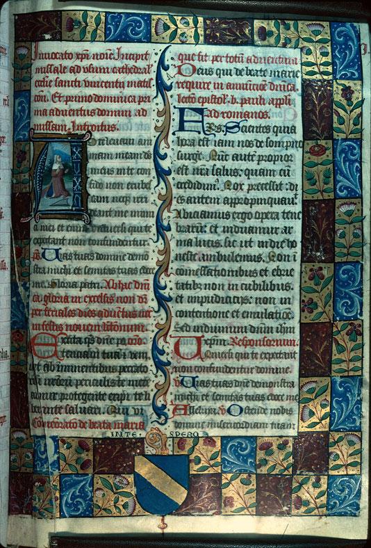 Missel - Page décorée, avec armes de Pierre de Juys (à préciser)_0